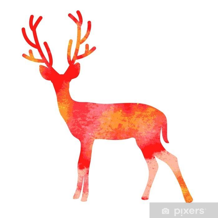 Plakat Akwarela wektora jelenia z rogami - Naklejki na ścianę