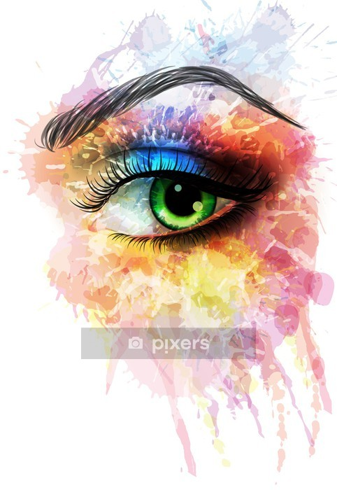 Eye made of colorful splashes Wall Decal - Wall decals