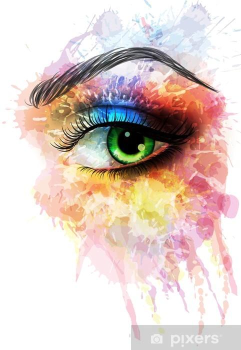 Papier peint vinyle Eye faite de taches colorées - Sticker mural