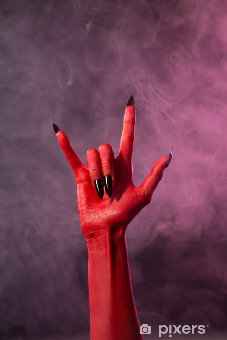 Aufkleber Heavy Metal Red Devil Hand Mit Schwarzen Nägeln Pixerstick