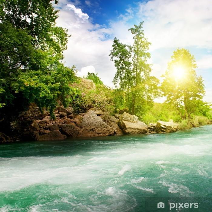 Pixerstick Sticker Sunrise, berg rivier en de blauwe hemel - Thema's