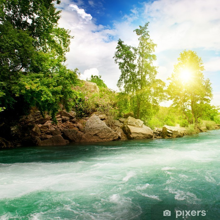 Sunrise, mountain river and the blue sky Pixerstick Sticker - Themes