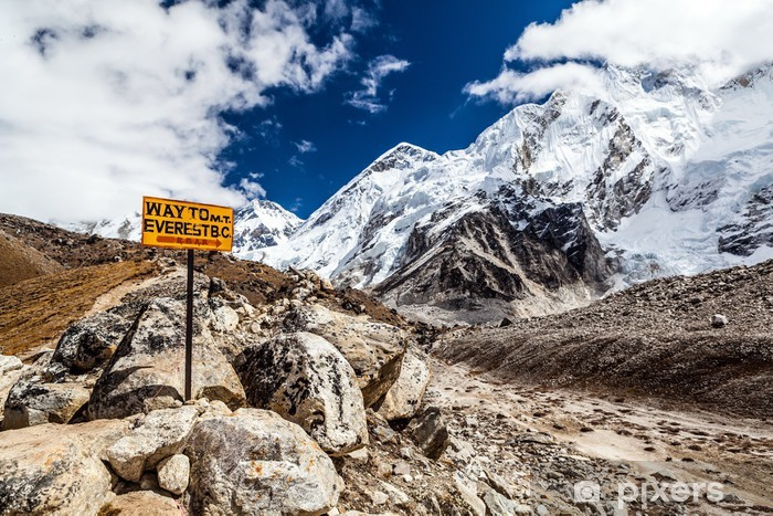 Mount Everest signpost Pixerstick Sticker - Themes