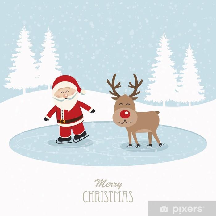 fe1b67570389a Vinilo Papá Noel y renos patín en el fondo cubierto de nieve el hielo  Pixerstick