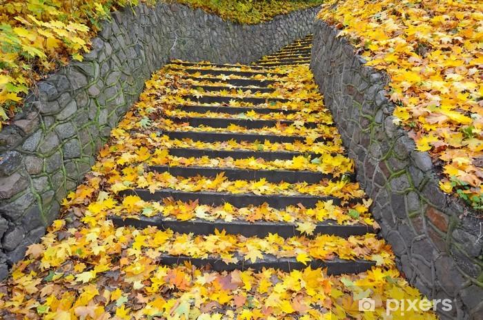 Vinyl-Fototapete Stadt Treppe in Herbstfarben - Themen