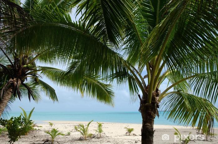 Vinyl Fotobehang Landschap van Moturakau Island in Aitutaki Lagoon Cook Eilanden - Oceanië