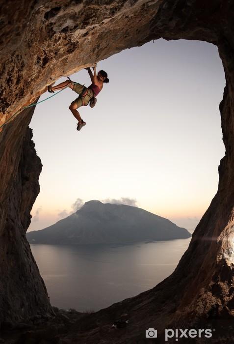 Pixerstick Dekor Kvinnlig bergsklättrare på solnedgången, Kalymnos Island, Grekland - Individuella sporter