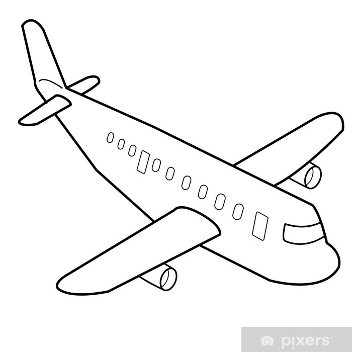 Airplane Cartoon Outline Vector Wall Mural Pixers We Live To Change