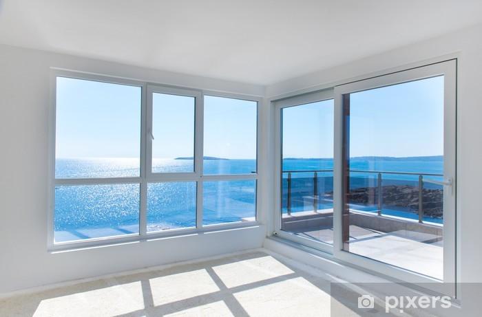 Fotomural Estándar Sala vacía con vistas al mar - Construcciones particulares