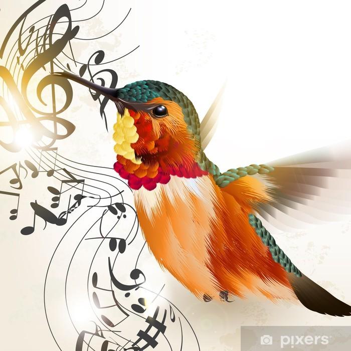 Pixerstick Dekor Musik vektor bakgrund med brummande fågel och anteckningar - Fåglar