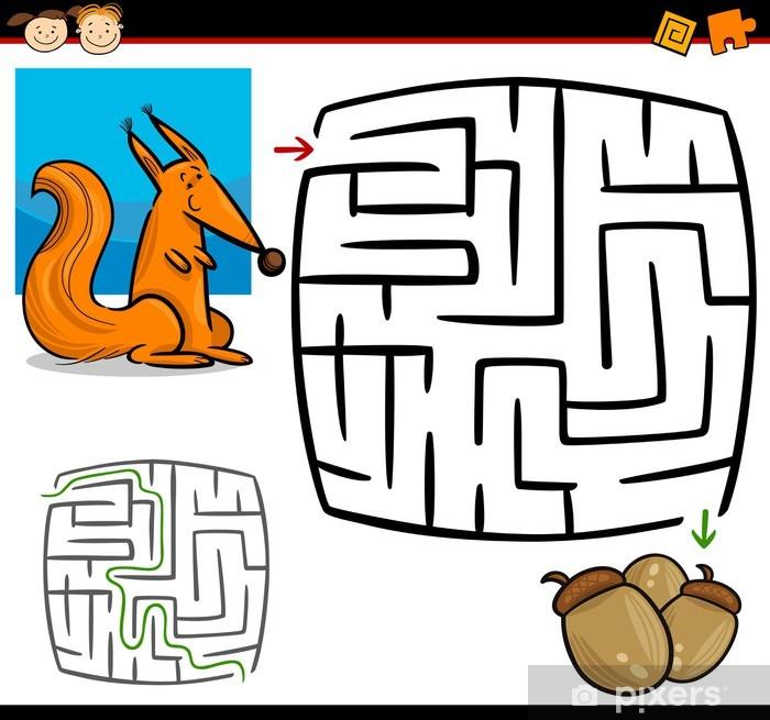 Papier peint vinyle Labyrinthe de dessin animé ou jeu de labyrinthe - Education