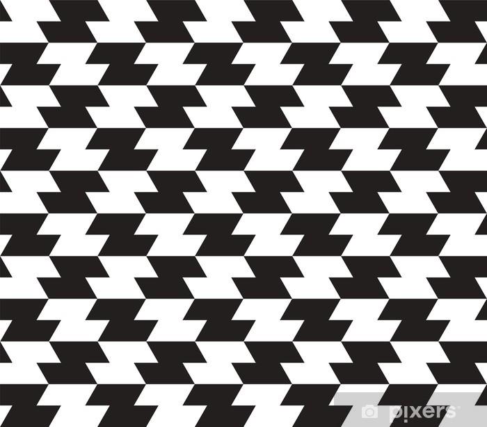 Plakat Black and White Zig Zag Wektor bez szwu tła. - Tła