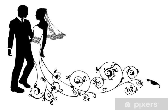 Nálepka Pixerstick Svatební pár nevěsta a ženich silueta - Slavnosti