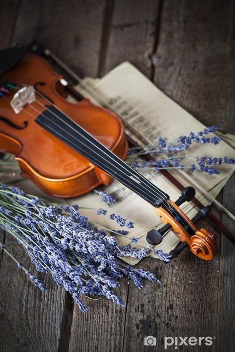 Fotomural Estándar Composición de la vendimia con el violín y la lavanda - Música