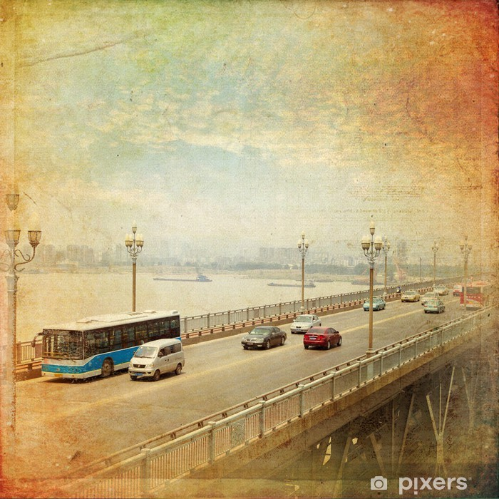 Papier peint vinyle Nanjing - Yangtze River Bridge, construit en 1968 - Asie