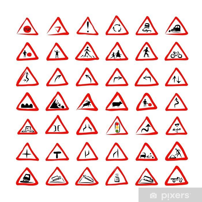 Poster Ensemble de 42 panneaux de signalisation croquis de votre conception - Signes et symboles