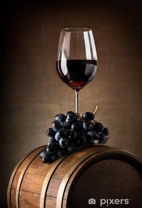 Carta da Parati in Vinile Calice di vino e botte - Temi