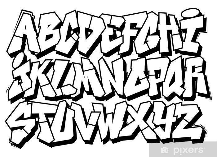 Naklejka Pixerstick Klasyczna sztuka ulicy typ czcionki graffiti. Alfabet Wektor - Alfabet