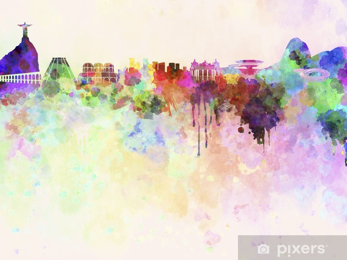 Rio de Janeiro skyline in watercolor background Pixerstick Sticker - Themes
