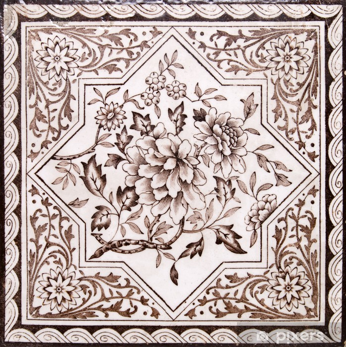 Victorian period decorative arts printed tile in sepia tone Poster - Backgrounds