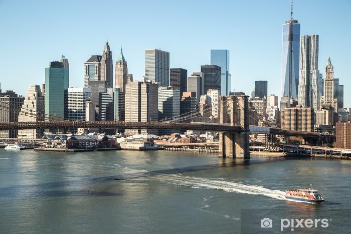 Fototapeta winylowa New York City Brooklyn Bridge downtown skyline - Przeznaczenia