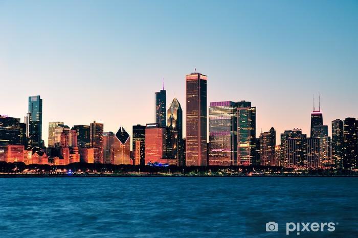 Naklejka Pixerstick Chicago Skyline o zmierzchu - Tematy