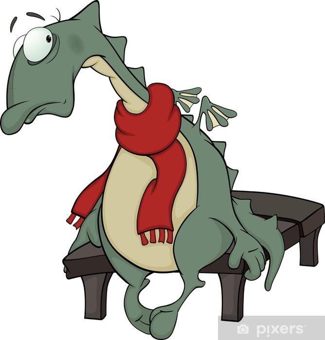 Pixerstick Aufkleber Sad grünen Drachen Cartoon - Wandtattoo