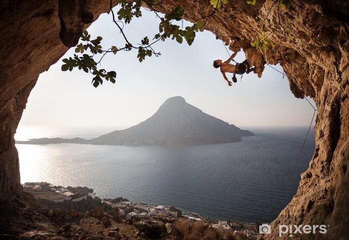 Pixerstick Dekor Rock klättrare på klippan. Kalymnos Island, Grekland. - Individuella sporter