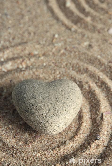 Nálepka Pixerstick Šedá zen kámen ve tvaru srdce na písku pozadí - Značky a symboly