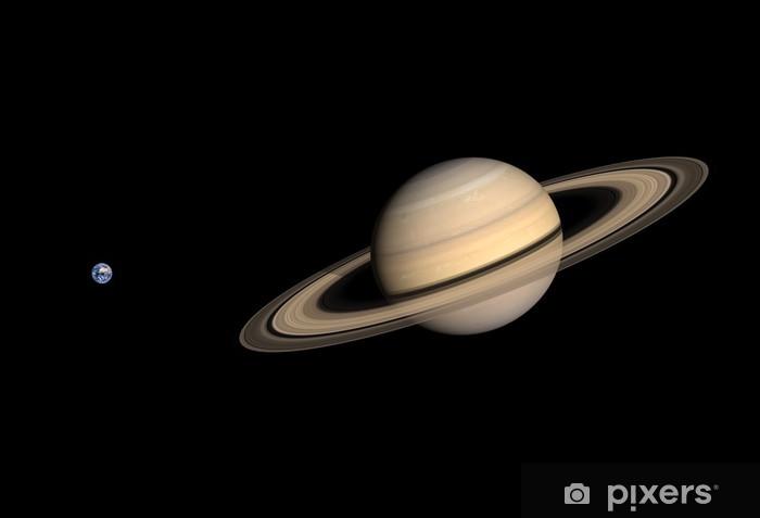 Papier peint vinyle Les planètes Terre et Saturne - Thèmes