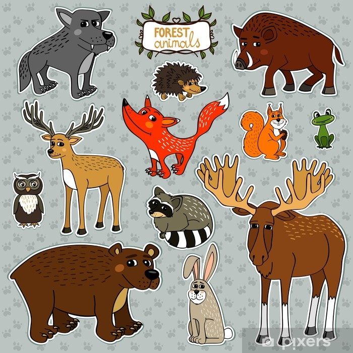 Sticker Pixerstick Animaux vecteurs chouette cerf renard - Signes et symboles