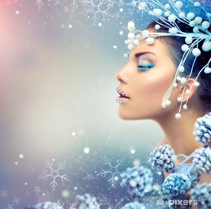Naklejka Na Szafę Zima Kobieta Piękna Christmas Dziewczyna Makijaż