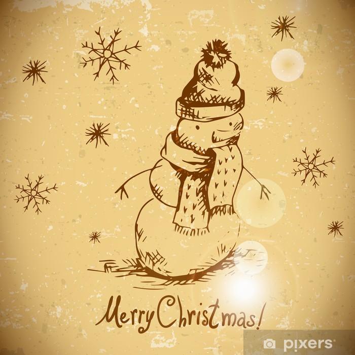 Poster Tiré par la main de carte de voeux vintage avec bonhomme de neige - Arrière plans