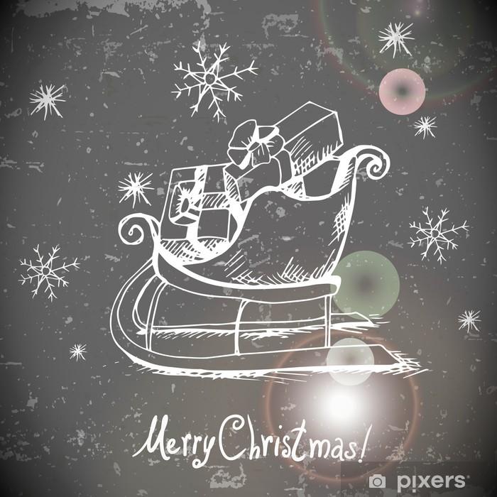 Fototapeta winylowa Vintage kartkę z życzeniami z Boże Narodzenie sanie - Tła