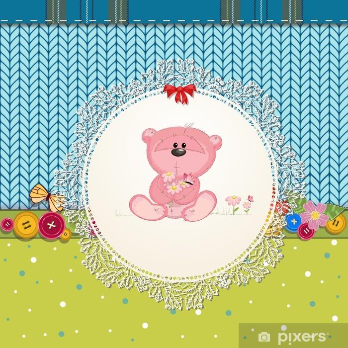 Sticker Pixerstick Carte avec ours en peluche pour votre conception - Pour enfant de 5 ans