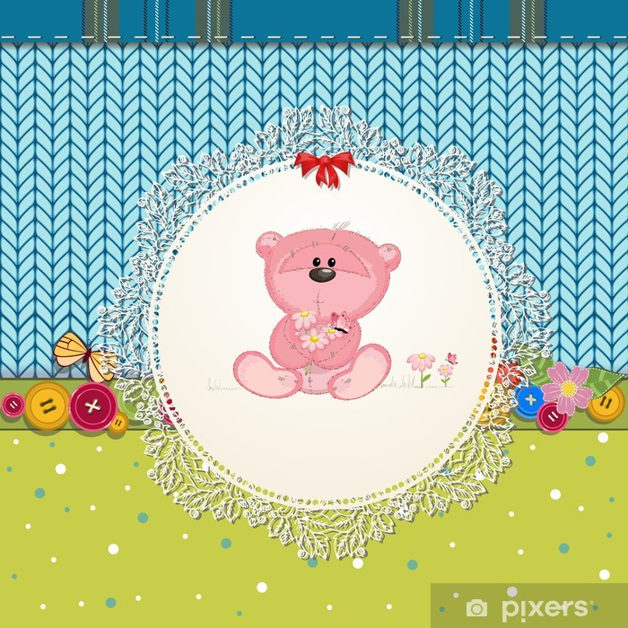 Vinilo Pixerstick Tarjeta con osito de peluche para su diseño - Para niña