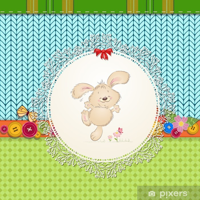 Vinylová fototapeta Karta s plyšovým králíkem pro svůj design - Vinylová fototapeta