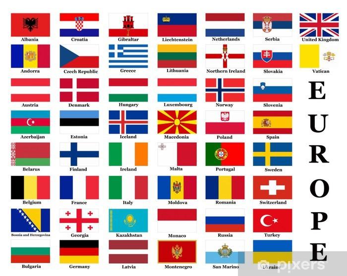 European country flags Pixerstick Sticker - Asia