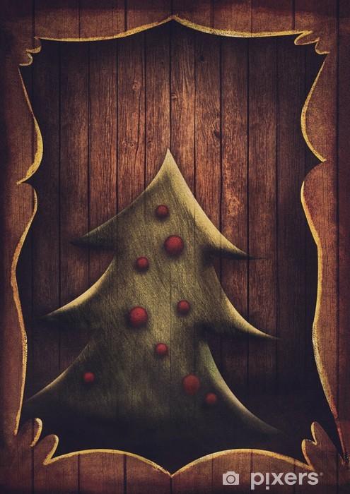 Immagini Di Natale Vintage.Carta Da Parati In Vinile Cartolina Di Natale Albero Di Natale Vintage In Cornice Di Legno