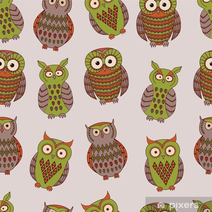 Vector colorful seamless pattern with different owls Pixerstick Sticker - Backgrounds