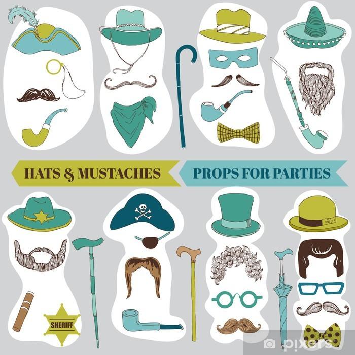 Plakát Photo Booth Party set - brýle, klobouky, rty, knír, masky - Vousy