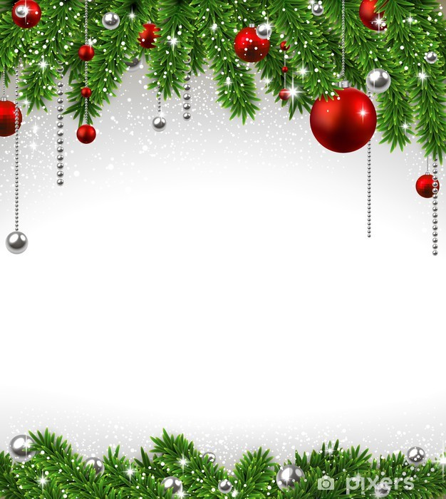 Weihnachten Hintergrund.Aufkleber Weihnachten Hintergrund Mit Tannenzweigen Und Kugeln Pixerstick