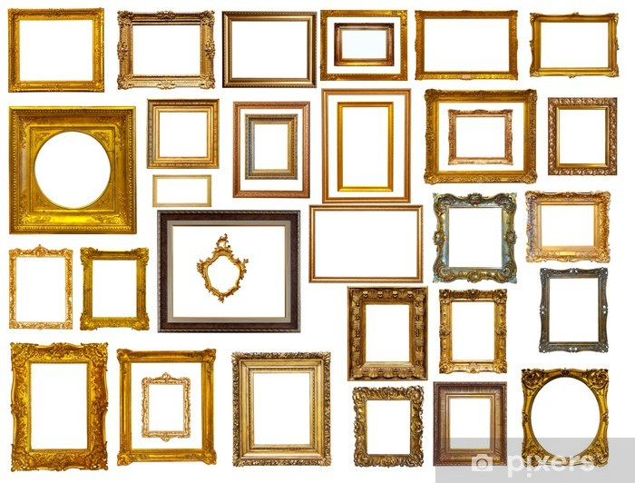 c98cf9c162f Set Of Many Gold Frames Isolated Over White Wall Mural Pixers