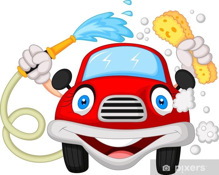 Fototapete Cartoon Auto Waschen Mit Wasser Und Schwamm Rohr