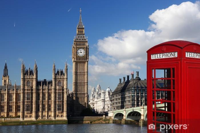Papier peint vinyle Big Ben avec cabine téléphonique rouge à Londres, Angleterre - Thèmes