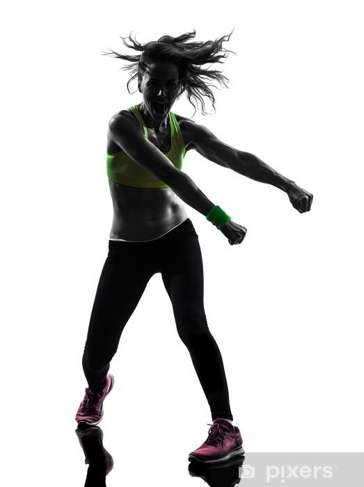 Sticker Femme exerçant Zumba Fitness silhouette de danse • Pixers ... dfefd6acf2b