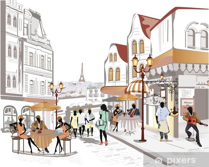 Naklejka Pixerstick Seria widoków ulic w starej części miasta - Tematy