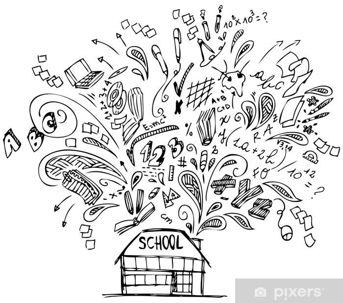 Naklejka Pixerstick Budynek szkoły z bazgroły na temat edukacji - Edukacja