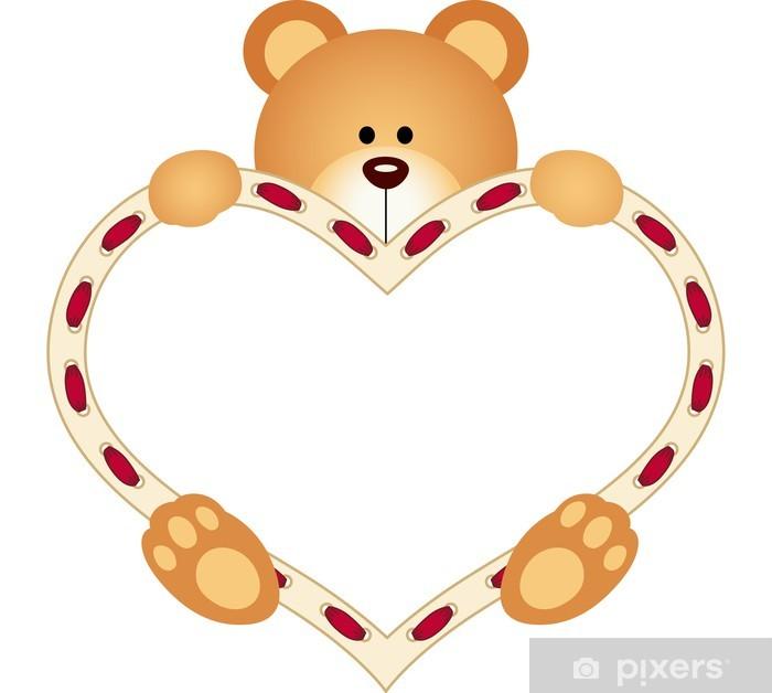 Fotobehang Teddy Bear Holding Blank Hart Pixers We Leven Om Te