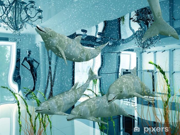 46094c788867 Fototapeta Skupina delfínů v moderní obchod interiéru (3D) • Pixers ...